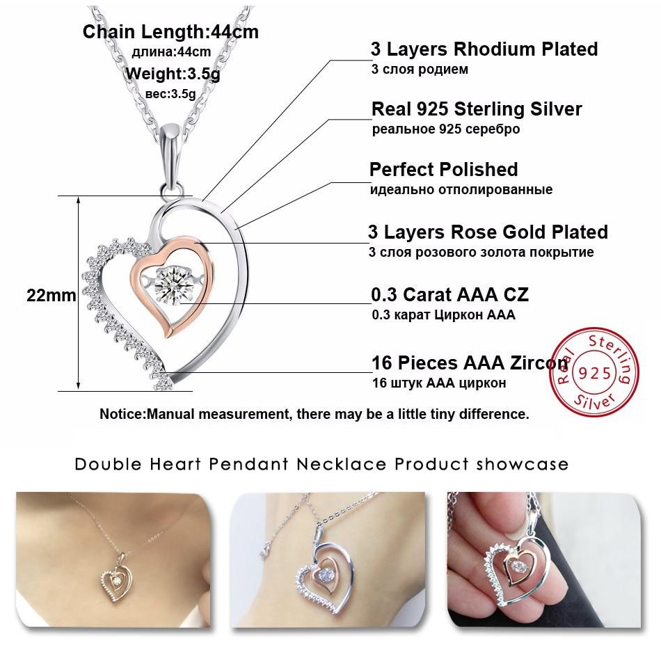 ORSA JEWELS Asli 925 Perak Liontin Jantung Ganda Kalung dengan 0.3 ct - Perhiasan fashion - Foto 3