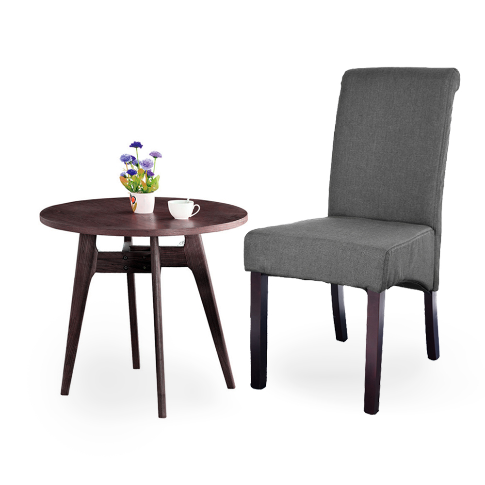 Best Fabric For Dining Room Chairs: Linen Fabric Dining Chair 2pcs/lot Grey Roll Top Scroll