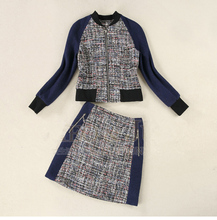 Tweed jacket + skirt suits predetermined spring new ladies fashion beaded woolen skirt suits