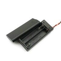 Yeni 2 * AAA pil saklama kutusu kutu tutucu için 2 adet AAA piller ile ON/OFF anahtarı ve tel İlanlar siyah toptan