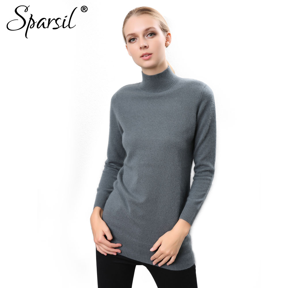 Sparsil Women Quality Cashmere Sweater Half Hight O Neck Solid Color Knitted Pullovers Autumn Winter Simple