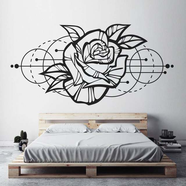 Rose Bloem Muur Sticker, Moderne Geometrische Room Decor Afneembare Vinyl Applique Slaapkamer Woonkamer Thuis Art Deco Wallpaper2WS40