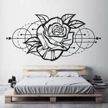 Rose Flower Wall Sticker, Modern Geometric Room Decor Detachable Vinyl Applique Bedroom Living Room Home Art Deco Wallpaper2WS40
