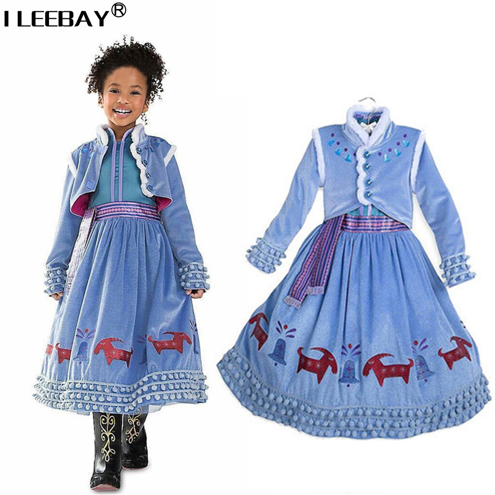 Baby Girls Party Princess Dresses Anna Elsa Cosplay Vestodos Kids Costume Toddler Children Clothes Girl Printed Display Dress 2017 new spring girl ice snow queen dress children anna elsa hooded dress toddler princess party clothes kids cosplay costume