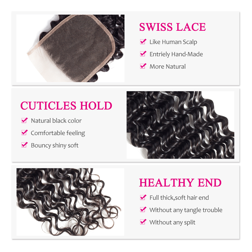 Yyong  Deep Wave Closure 4*4 Swiss Lace Free/Middle/Three Part  Natural Color  8-22 inches 6