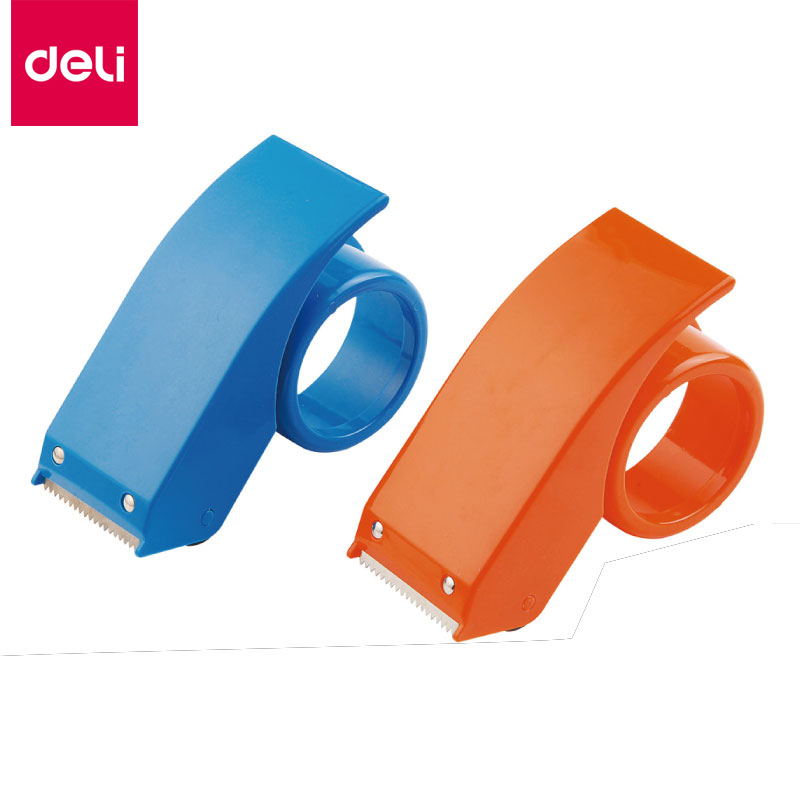 Deli Adhesive Tape Dispenser Practical Plastic Tape Scroll Cutter Knife ,48mm Type,Office School Supplies(Random Color, 1pc) random color hook 1pc