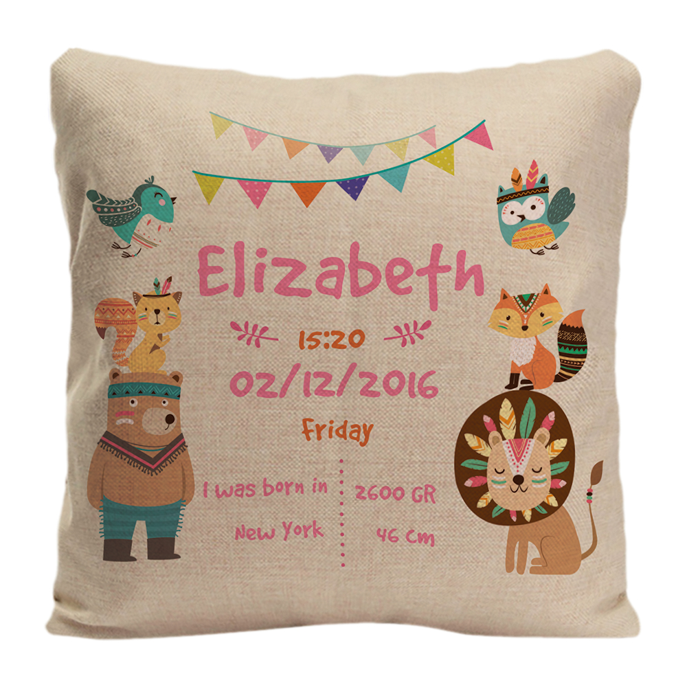 Customized With Birthday Baby Girl Cushion Birth Data Forest Animals Pillow Decorative Cushion Cover Pillow Case Customize Gift