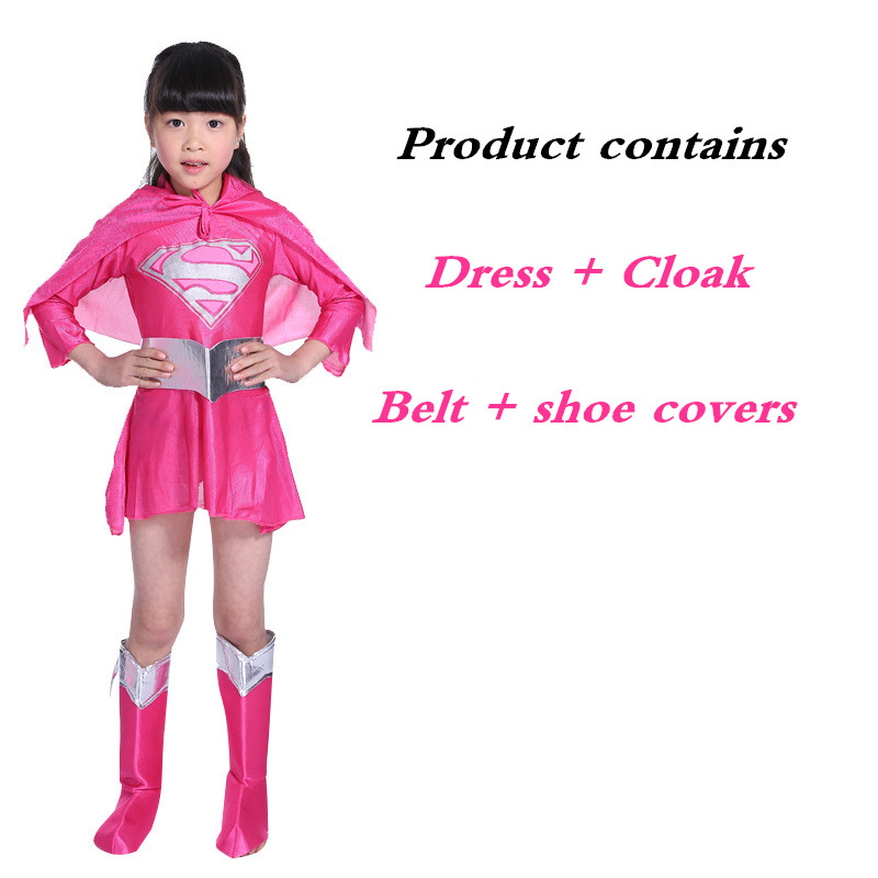 Halloween Child Cosplay Costume Superman Cape Girl Dress Princess Superman Costume