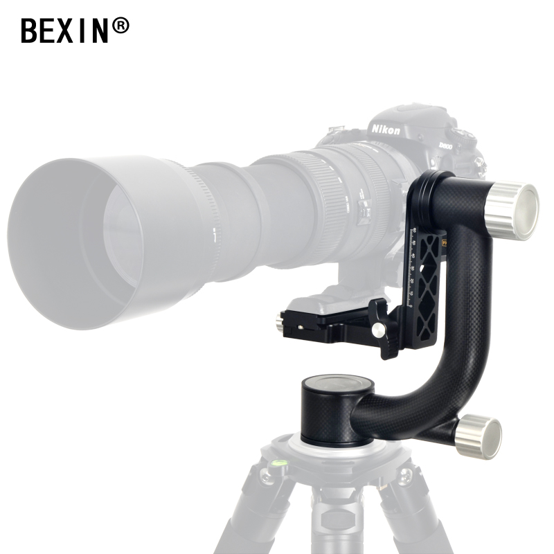 BEXIN Heavy Duty Carbon Fiber Gimbal head titleTripod Head Stabilizer Quick Release Plate for Telephoto Lens photography bird 50pcs lot wire hanger fastener hanging photo picture frame quick easy clutch release nickel plate movable head ceiling