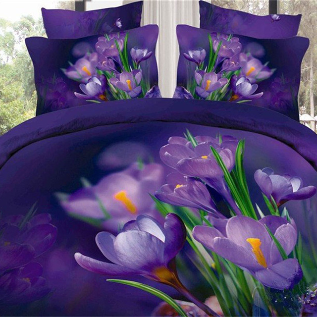 modern designs 3d oil painting purple flower bedding set pure cotton fabric bed sheets pillowcase duvet
