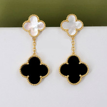Superior Goods Gifts 925 Silver 18k Gold Plated 2-flower Four Leaf Clover Large Female Plate Real Pearl Shell Agate