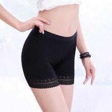 Women Boyshorts Pants Ice Silk Seamless Short Five Minutes Black Safety Underwear Boxer