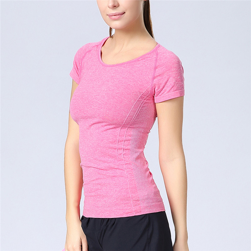 Women Professional Fitness Sports Running Short Sleeve Exercise Clothes T shirt