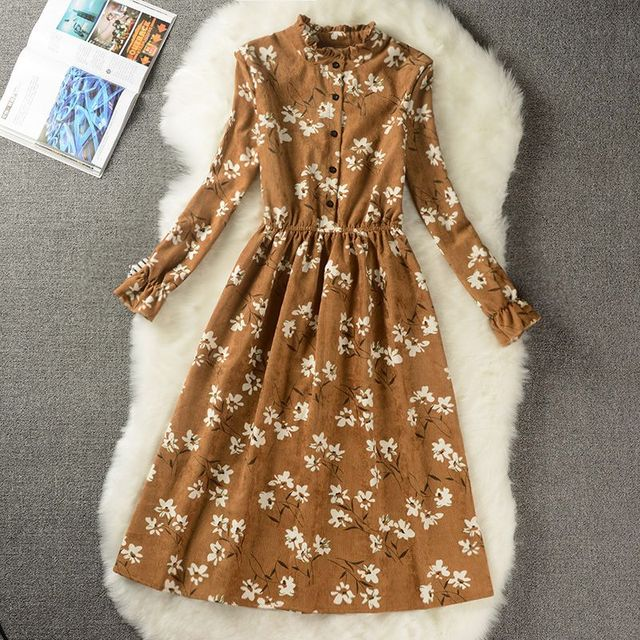 Autumn Winter Women Sweet Corduroy Dress Stand Collar Print Long Sleeve Femininos Vestidos Mori Girl Elegant Loose-Waist Dress 5