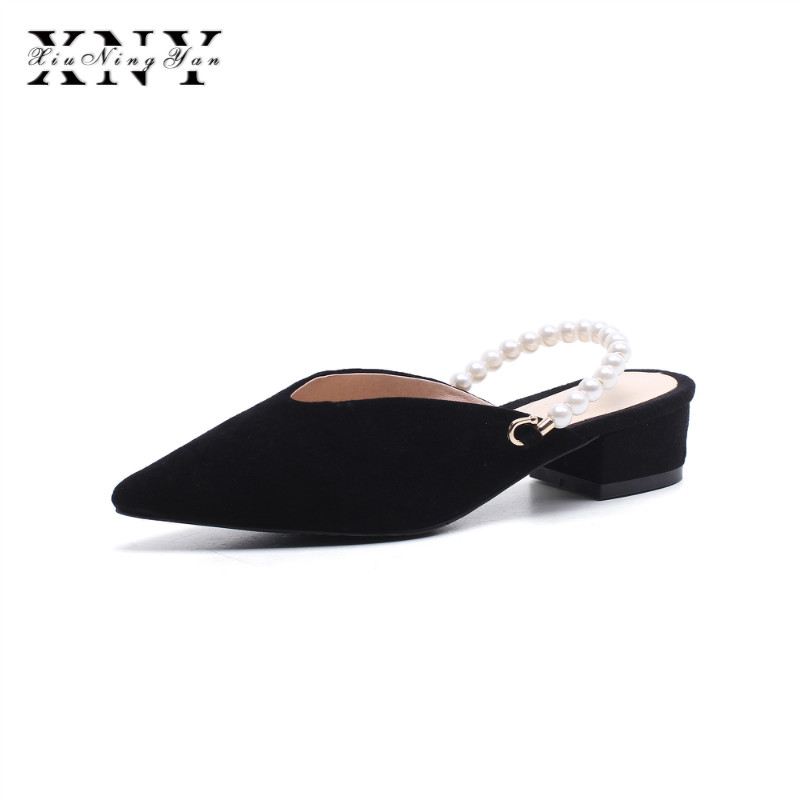 XIUNINGYAN New 2018 Genuine Leather Women Sandals Sexy Crystal Gladiator Sandals Fashion Pearl Summer Shoes Woman Mules Slides xiuningyan women sandals 2018 new fashion casual shoes comfortable wedges sandals platform genuine leather woman summer shoes