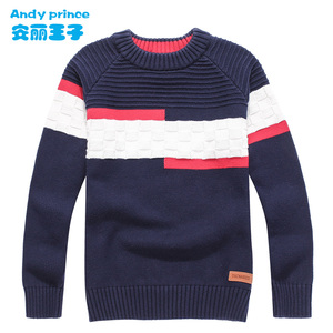 Image 1 - New Styles Childrens Clothing Child Sweater O neck 100%cotton Sweater Boy Spring and Autumn Pullovers for Kids 4 16 Years