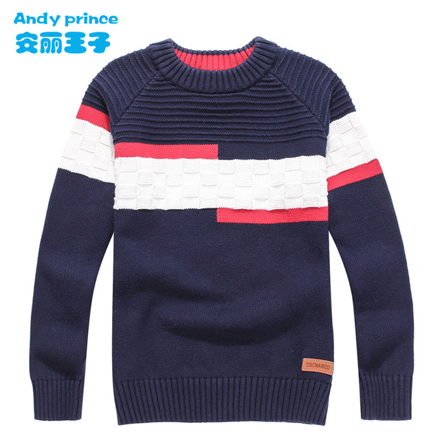 New Styles Childrens Clothing Child Sweater O neck 100%cotton Sweater Boy Spring and Autumn Pullovers for Kids 4 16 Years
