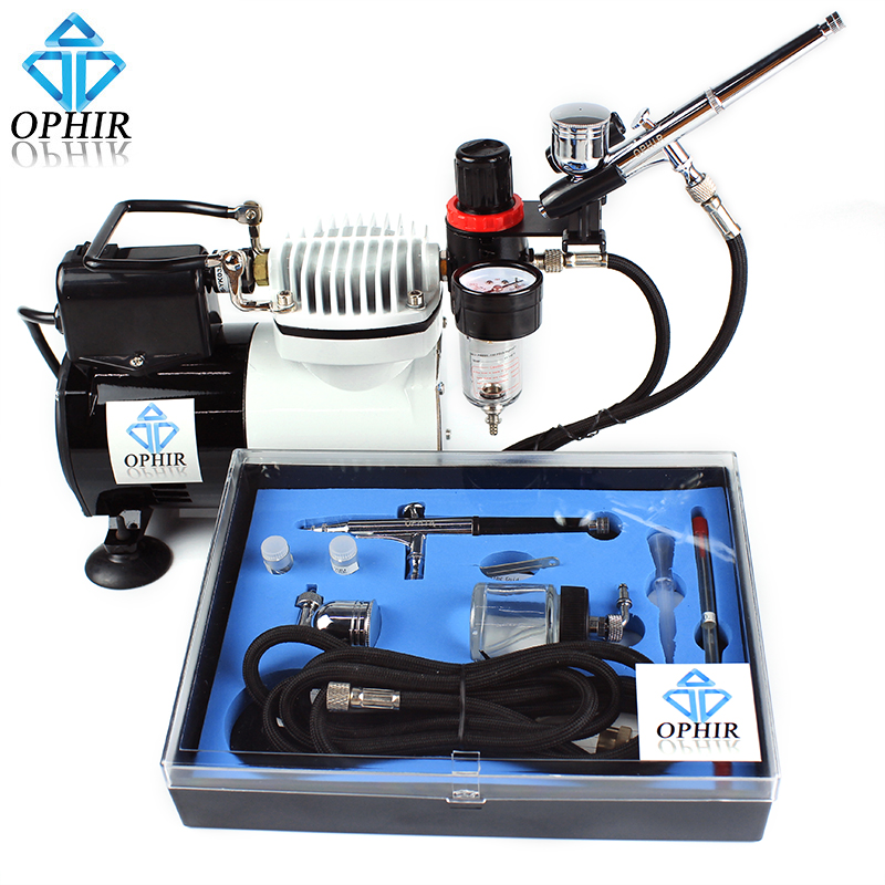 OPHIR Airbrush Compressor Kit with Cooling Fan for Craftwork Spraying Tanning T-Shirt Art Hobby Airbrushing _AC114+004A+074 ophir pro airbrush compressor 110v 220v with fan