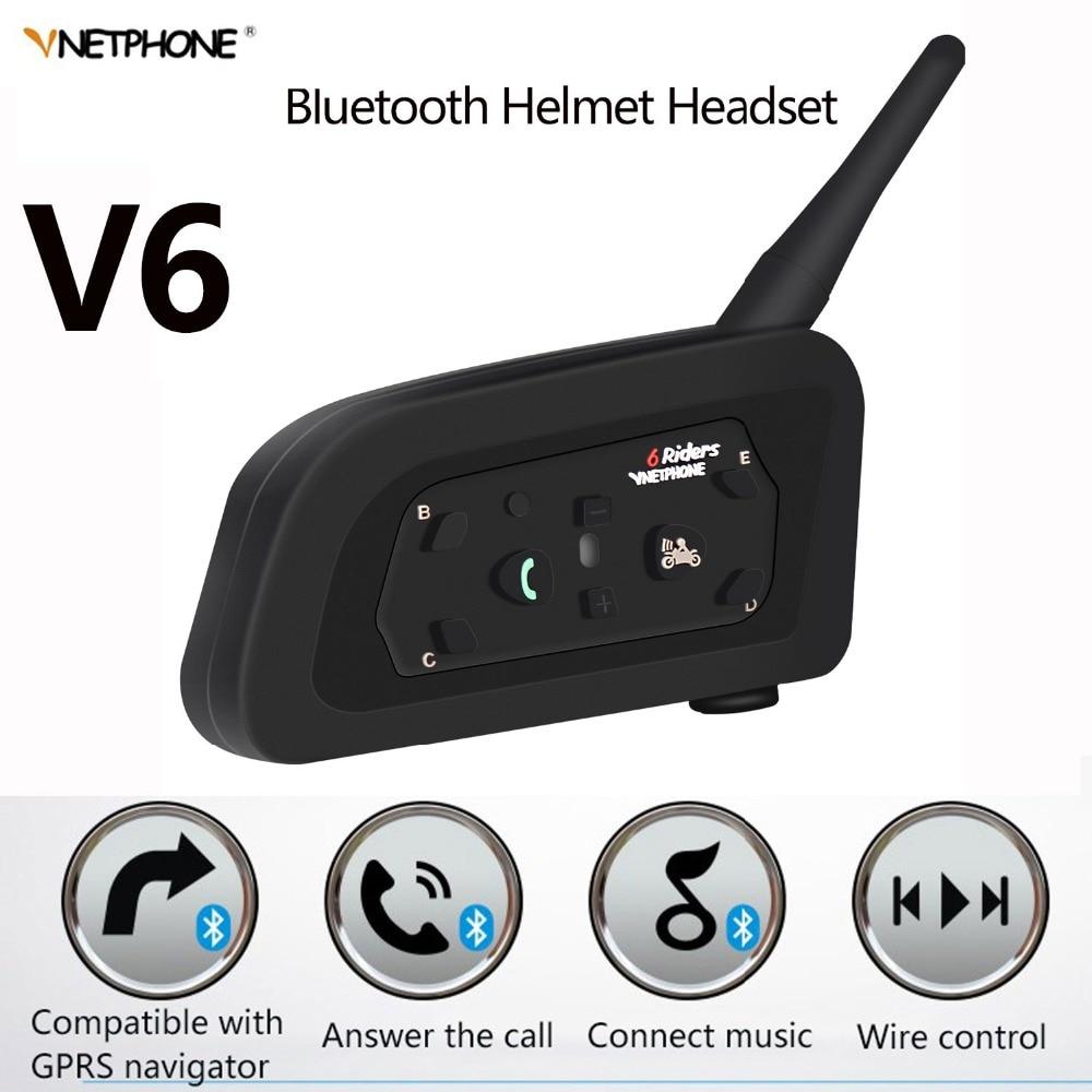 IP65 V6 Multi Motorcycle Intercom Intercomunicador 1200 Meter Helmet Speaker Bluetooth Headset for 6 Riders Interphone