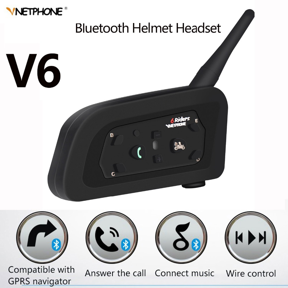 IP65 V6 Multi Moto Interphone Intercomunicador 1200 mètre Casque Haut-Parleur Bluetooth Casque pour 6 Coureurs Interphone MP3 GPS