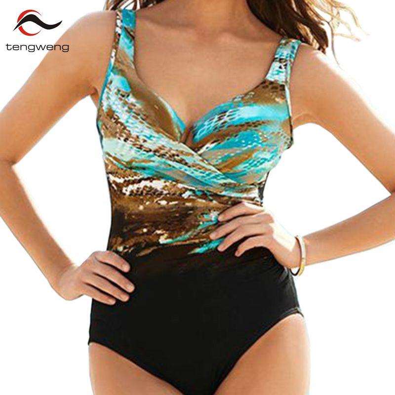 Tengweng 2019 New Print Plus size Bademode 5XL Badeanzug Große Größe Push-up Tankini Frauen Einteilige Badeanzug Damen Bikini