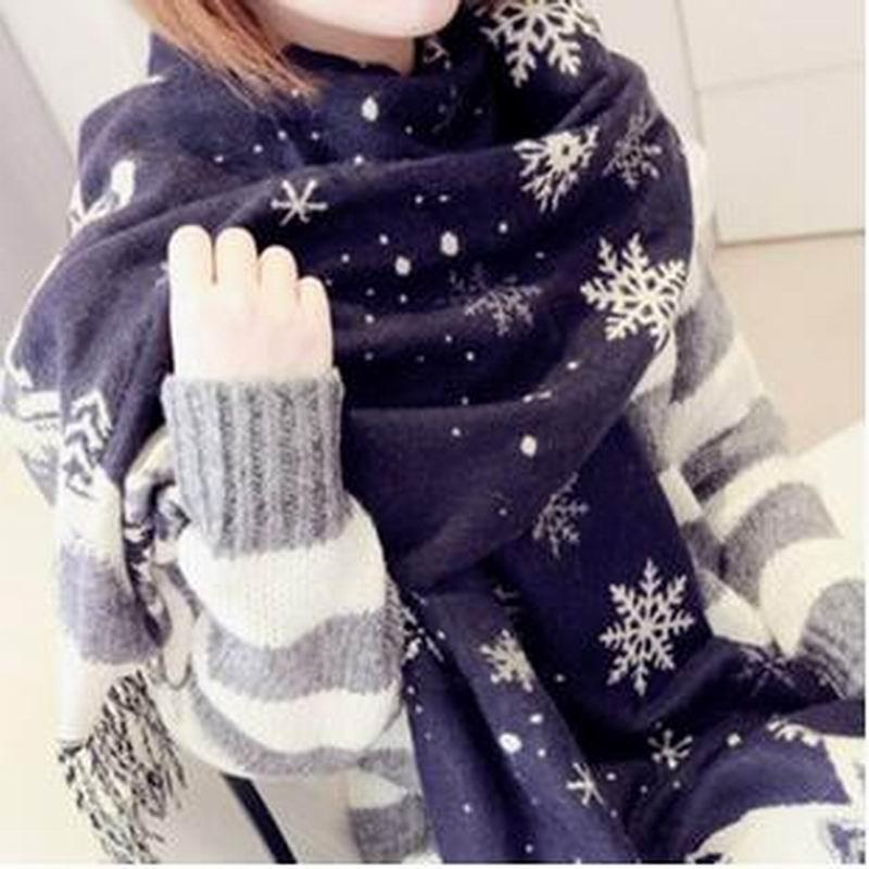 Christmas Scarf For Women 2018 Christmas Gift Snow Print Wraps Shawl Bufandas Winter Scarves Pashmina Shawl Scarves Women