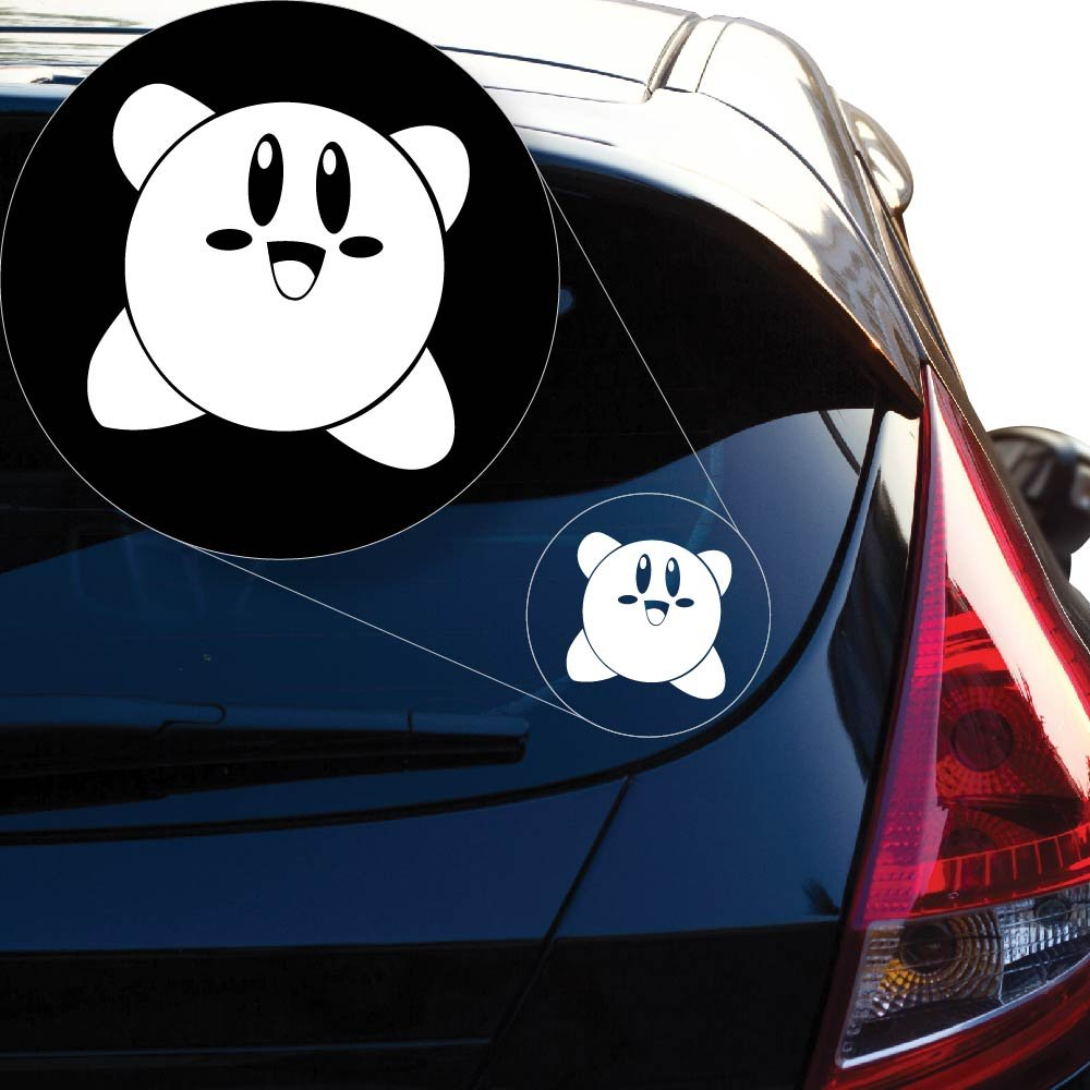 Yoonek Graphics Kirby Vinyl Decal Sticker # 851 (4 x 4, White)