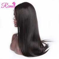 Rcmei Full Lace Human Hair Wigs Brazilian Straight Remy Black Hair Wigs Pre Plucked With Baby Hair Glueless Wigs For Women