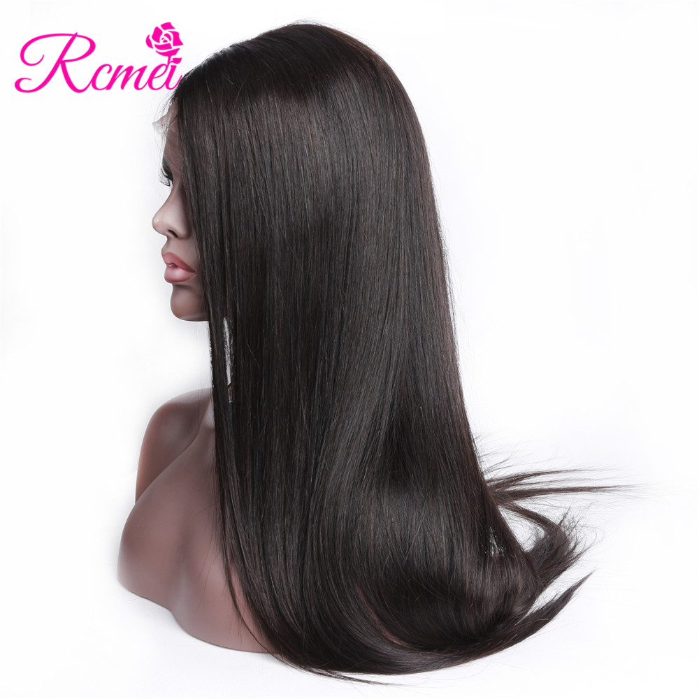 Rcmei Full Lace Human Hair Wigs Brazilian Straight Hair Full lace Wigs With Baby Hair PrePlucked Natural Hairline Black RemyHair