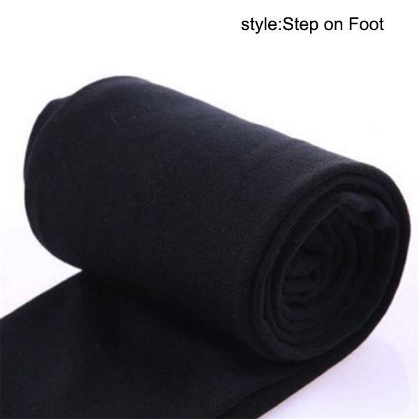 Осенне-зимние модные женские теплые флисовые зимние тянущиеся леггинсы с теплой флисовой подкладкой, тонкие теплые штаны BFJ55 - Цвет: Black Step on Foot