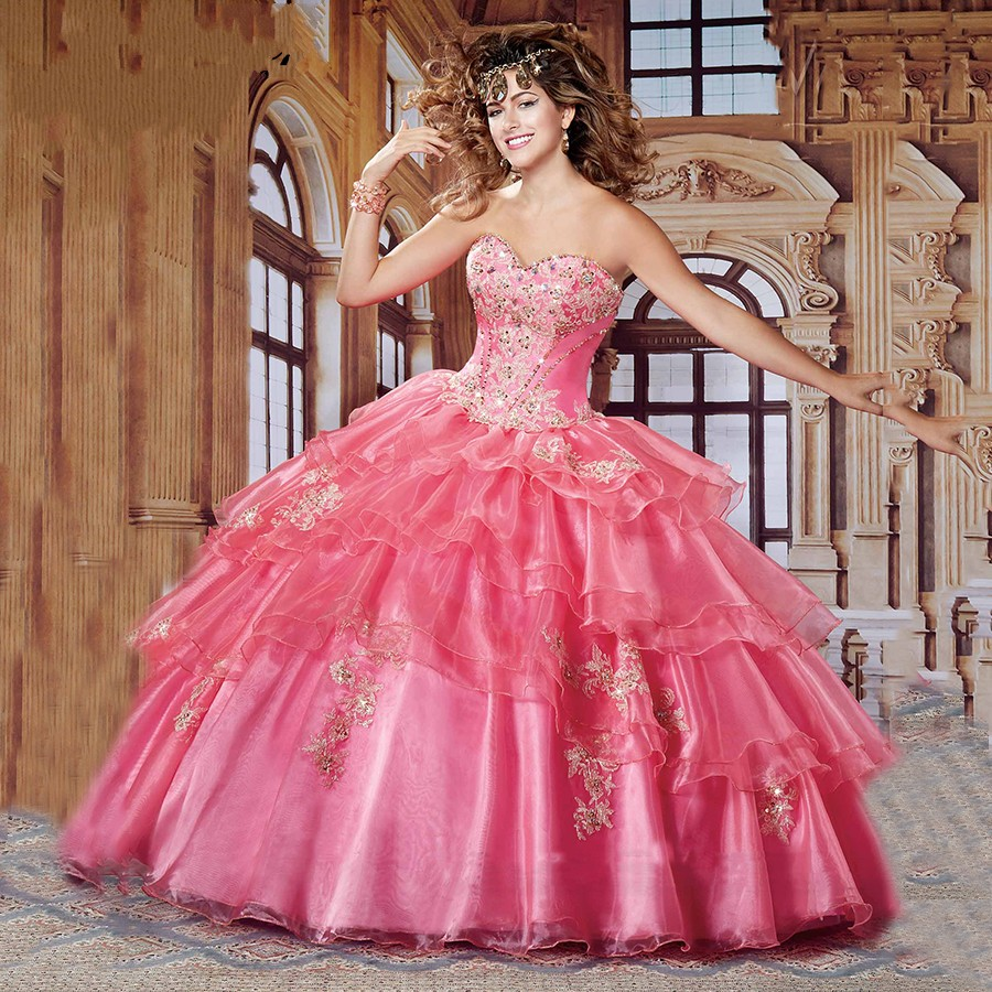 Pink and Gold Quinceanera Dresses