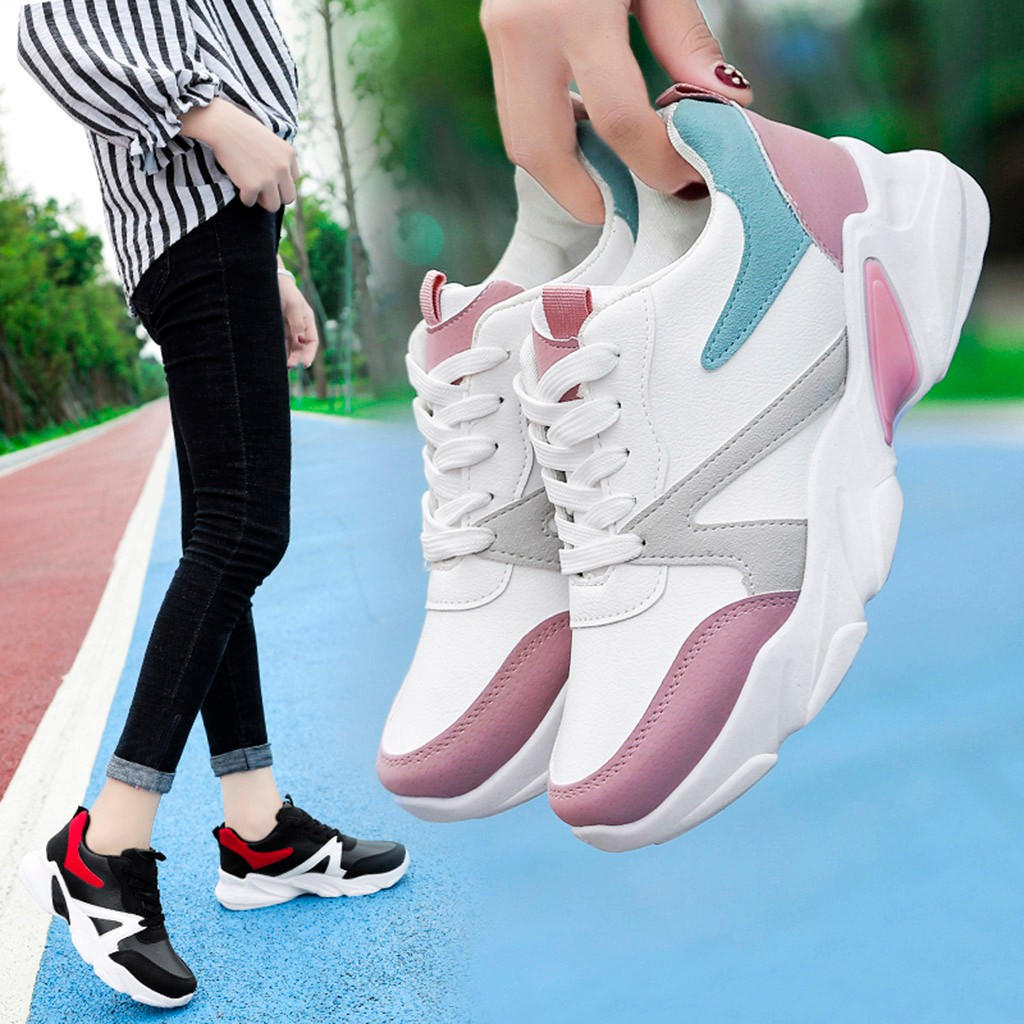2019 Women's Leather Sneakers Fashion Ladies Shoes Ankle