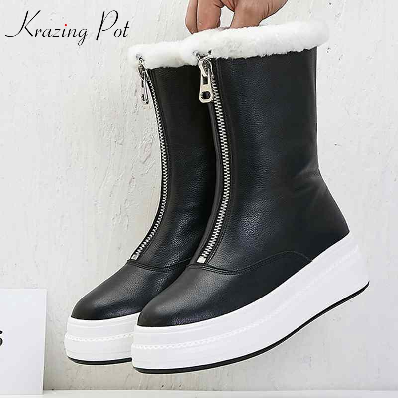 krazing pot 2018 cow leather wool sheep fur snow boots casual sweet lady gorgeous original design keep warm mid-calf boots L2f2