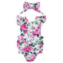 Комбинезон на бретельках для маленьких девочек+ повязка на голову; пляжный костюм с цветочным рисунком; комплект из 2 предметов на Рождество
