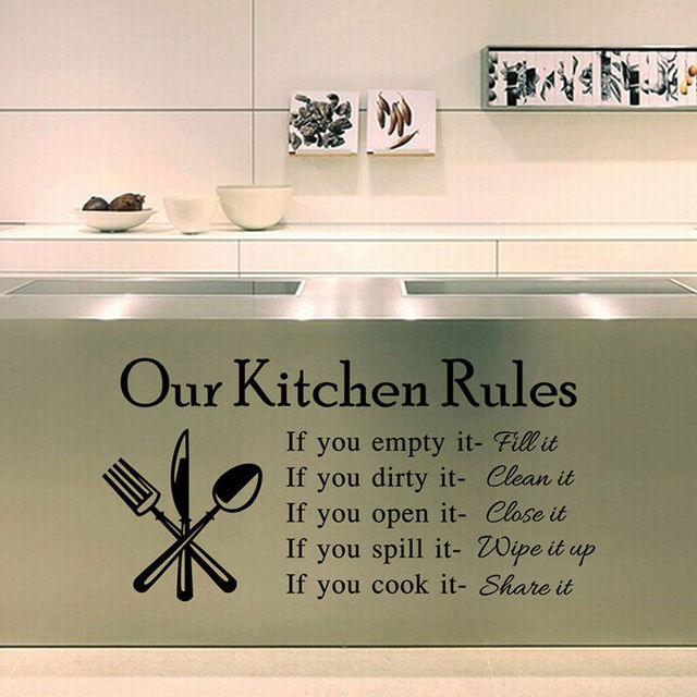 Our Kitchen Rules Letter Wall Decal Removable Wall Sticker Kitchen