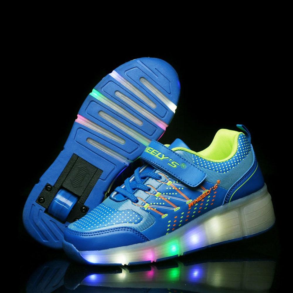 Kids Shoes Kids Glowing Sneakers LED Lights Children Roller Skate Shoes Wheels Led Lights Up for Boy Girls tenis infantil