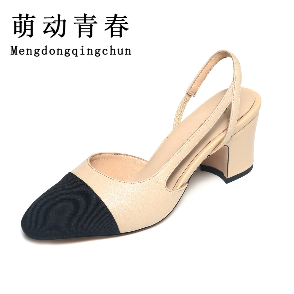 Women Sandals 2016 Summer Shoes Woman Fashion Square Heels Pumps Ladies Genuine Leather Women Shoes Sapato Feminino Mixed Colors