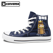 Classic Blue Converse Chuck Taylor Unisex Hand Painted Shoes Police Box Women Men Sneakers High Top Unique Gifts