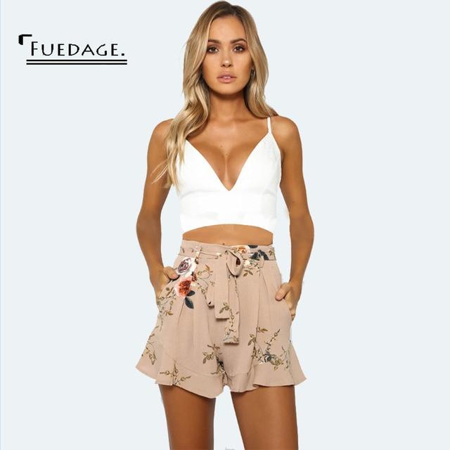 Fuedage Summer Bohemian Women Chiffon Shorts Floral Print High Stretch High Waist  Casual Women Short Pants Bottoms