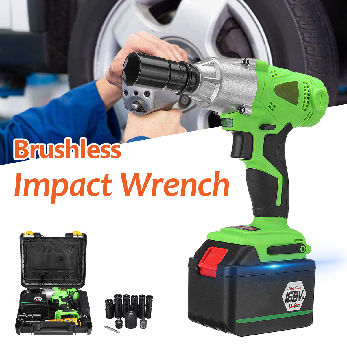 98-188VF Electric Brushless Cordless Impact Wrench Drill 2500RPM Screwdriver With Socket Set for Drill Installation Power Tool electric impact wrench 98 128 168 188vf electric brushless li ion battery wrench 10mm chuk with box cordless speed control power