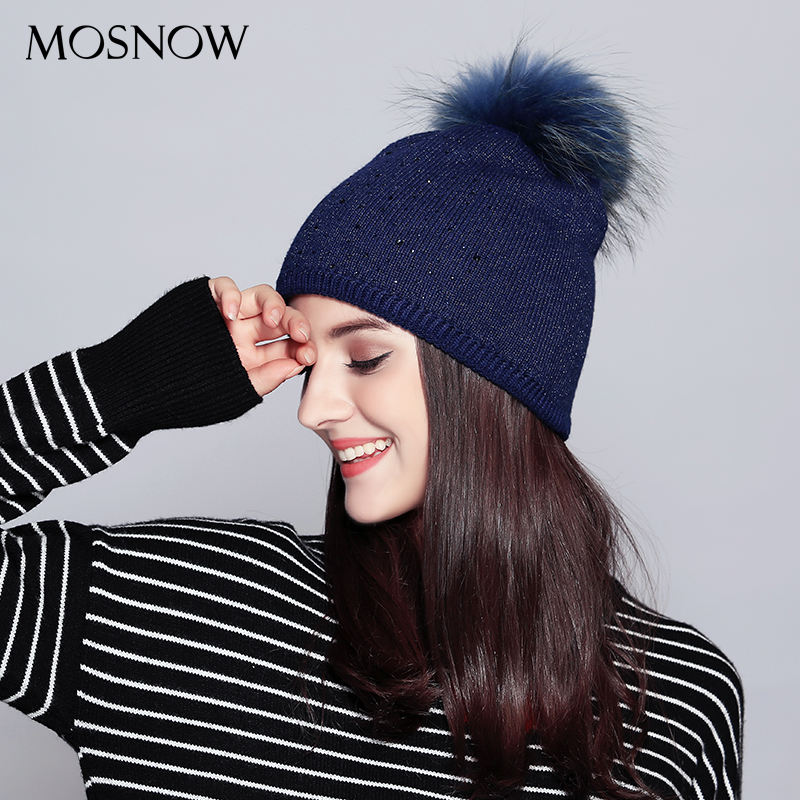 MOSNOW Wool Hats For Women Casual 2017 Raccoon Fur Pompom Rhinestone Autumn Winter Knitted Women's Hat Skullies Beanies  #MZ711B autumn winter beanie fur hat knitted wool cap with raccoon fur pompom skullies caps ladies knit winter hats for women beanies
