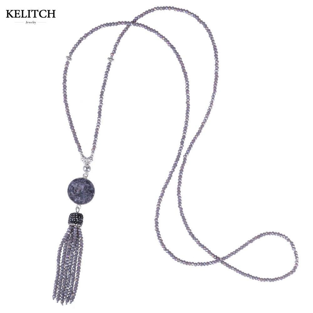 Online-Shop KELITCH Halskette welry Licht Lila Perlen Quaste Stein ...