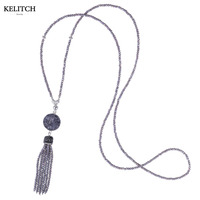 KELITCH Necklace welry Light Purple Beaded Tassel Stone Homemade DIY Chain Strand Pendant Necklace For Girlfriend Mother Gifts