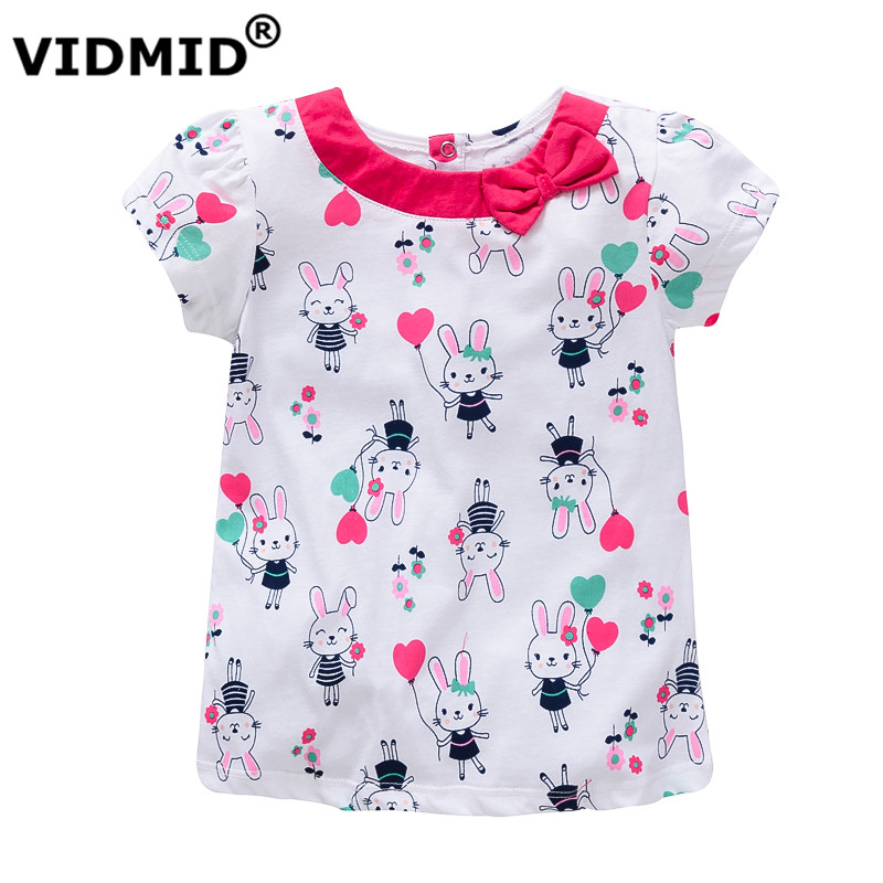 VIDMID baby t-shirt summer clothing for girls kids tees children girls shirts short sleeve t shirt 100% cotton top quality brand