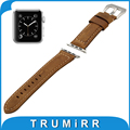 Genuine Leather Watchband Polished Stainless Steel Buckle Strap for iWatch Apple Watch 38mm 42mm Replacement Wrist Band Bracelet