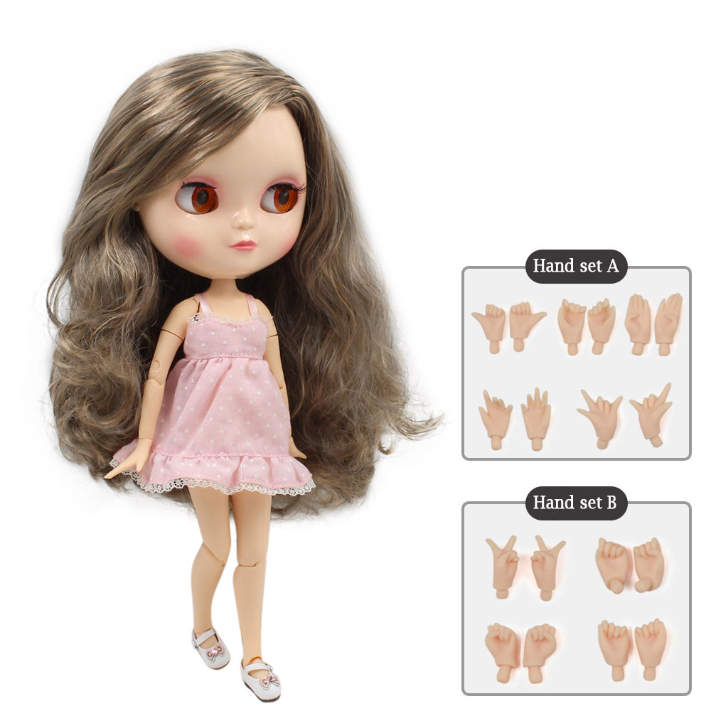 ICY DOLL small breast azone body fortune days BL2240/9016 grey mix brown hair side parting 30cm