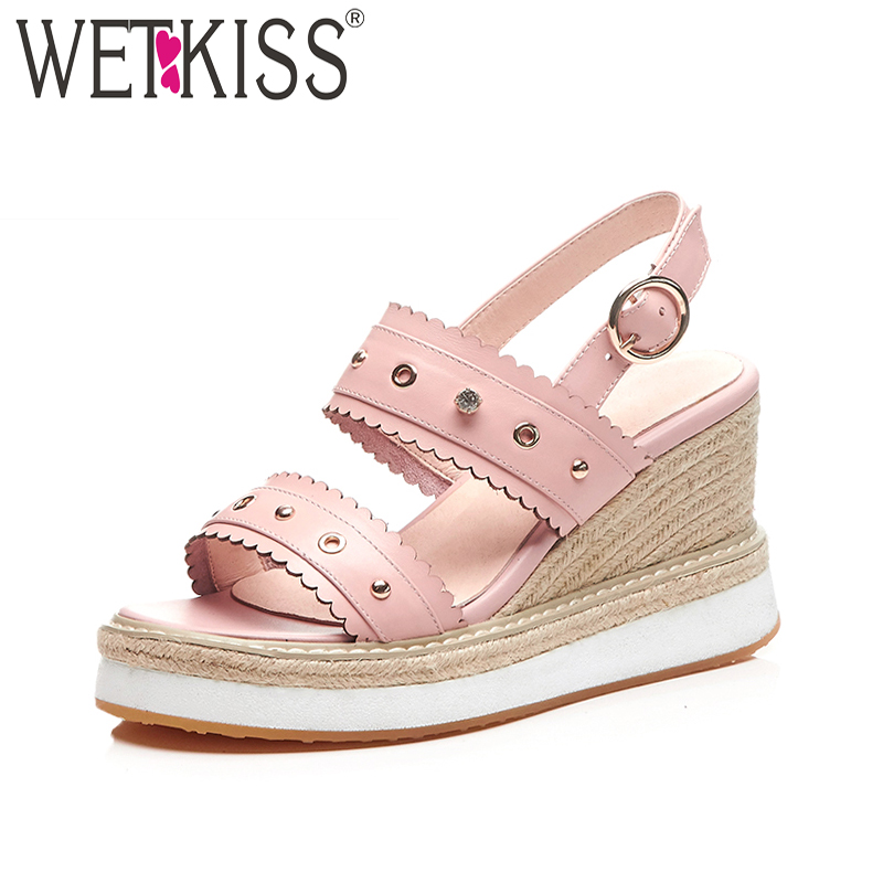 WETKISS Summer High Heels Women Sandals Open Toe Straw Weave Platform Crystal Rivet Footwear Fashion Casual Leather Female Shoes women sandals shoes 2017 summer shoes woman gladiator wedges cool fashion rivet platform female ladies casual shoes open toe