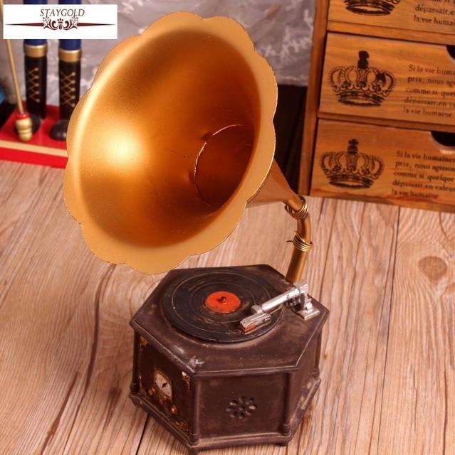 Zakka Shabby Chic Gramophone Resin Handicraft Vintage Home Decor ...