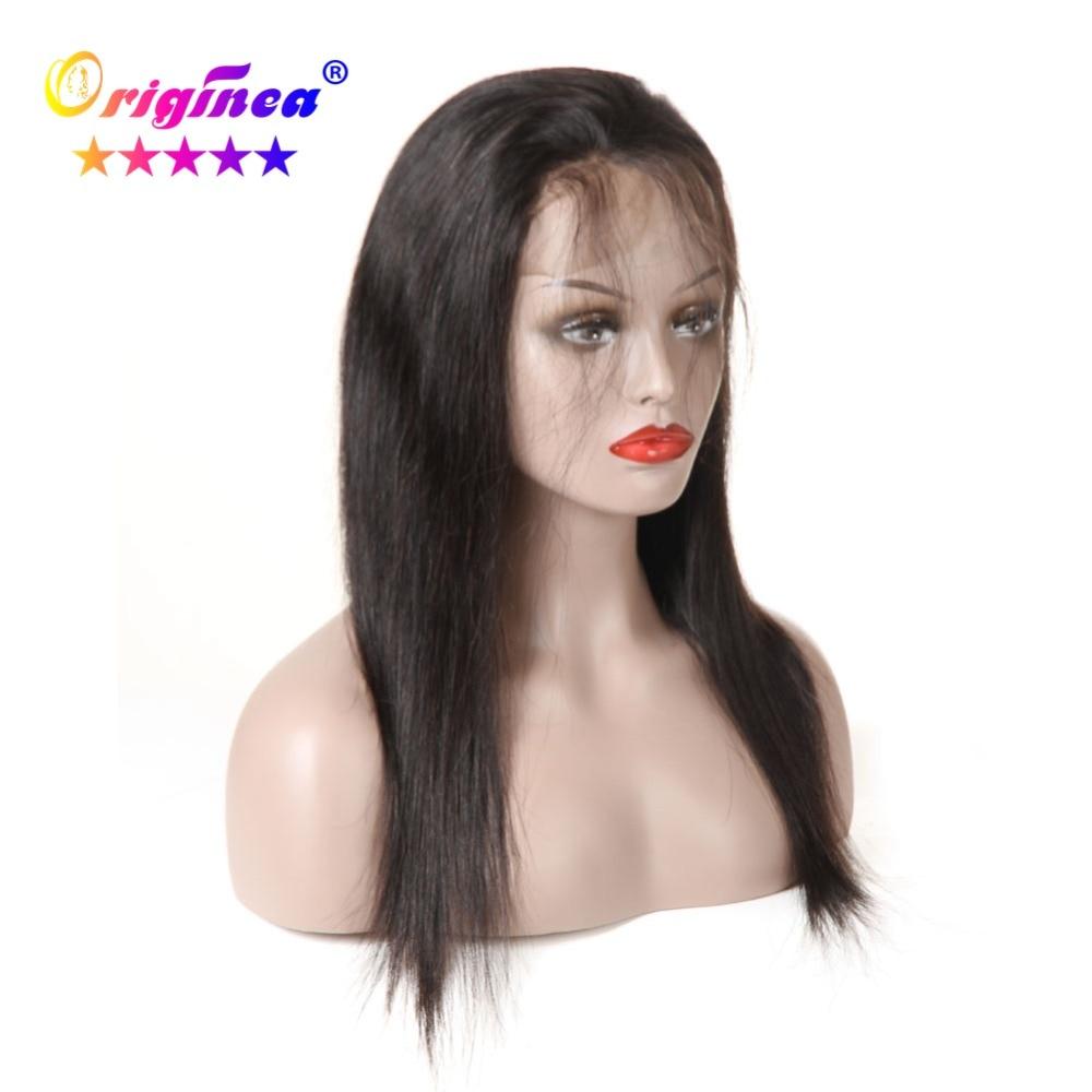 Originea Cheveux Raides Full Lace Perruques de Cheveux Humains Brésiliens Remy de Cheveux Humains Pleine Perruque de Lacet avec des Cheveux de Bébé 10 -26 naturel Noir