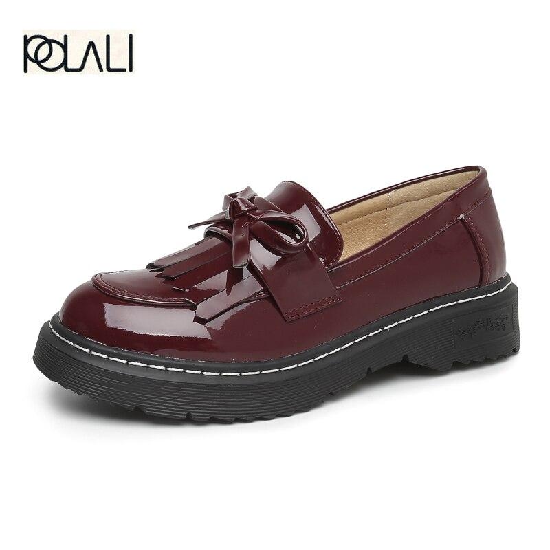b49c01df21c POLALI Big Size43 Women Oxfords Flats Platform Shoes Patent Leather ...